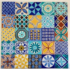Set of 25 hand painted ceramic tiles. Tiles are square but can also be made in square tiles. Please contact me for more details Moroccan inspired designs and colours. Tiles can be ordered in any amount you require. Painting Ceramic Tiles, Tile Art, Mosaic Tiles, Painted Tiles, Splashback Tiles, Ceramic Art, Moroccan Art, Moroccan Tiles, Moroccan Bedroom
