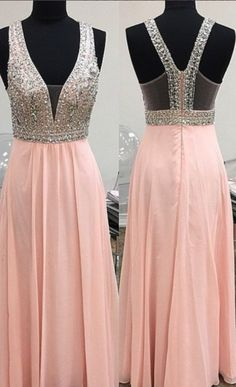 High Quality A-LINE Chiffon Sequined Prom Dress V-Neck Beading Eveing Dresses Backless PINK PROM DRESS LONG DRESSES PARTY DRESSES