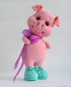 Crochet pillow animal fresh mc pig peggy pig in boots hook – shop online on livemaster with www mrsbroos com Crochet Hippo, Knit Or Crochet, Cute Crochet, Crochet Animals, Crochet Crafts, Crochet Dolls, Crochet Projects, Amigurumi Patterns, Crochet Patterns Amigurumi