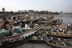 Fishing boats on the beach in Accra, Ghana, West Africa
