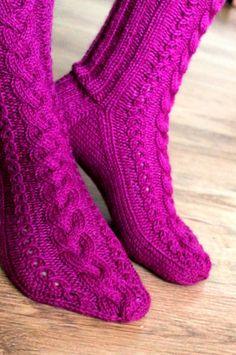 Ravelry: November Socks pattern by Niina Laitinen Diy Crochet And Knitting, Knitted Slippers, Crochet Slippers, Knitting Socks, Hand Knitting, Knitting Patterns, Knit Socks, Boot Cuffs, Yarn Colors