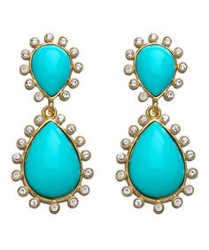 Gold Turquoise and Crystal Drop Teardrop Earrings