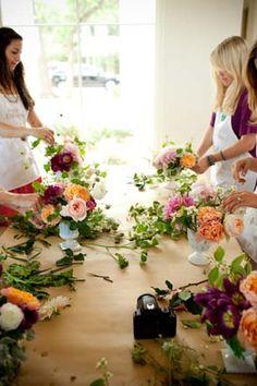 bridal shower idea: flower arranging | via: elizabeth anne designs