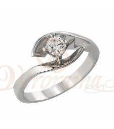 Μονόπετρo δαχτυλίδι Κ18 λευκόχρυσο με διαμάντι κοπής brilliant - MBR_038