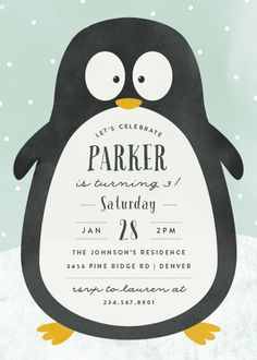 This Fun Birthday Party Invite Is Perfect For A Winter Birthday! Purple Children Birthday Party Invitations From Minted By Independent Artist Peony Papeterie. Winter Birthday Parties, Party Favors For Kids Birthday, Birthday Invitations Kids, Birthday Party Decorations, Birthday Kids, Frozen Birthday, Wedding Invitations, Penguin Baby Showers, Penguin Birthday
