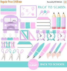 70% OFF SALE Back to School Clipart, School Supplies Digital Clipart, Books Clipart, School clipart, School, Pencil Clipart - CA183 by PremiumClipart on Etsy