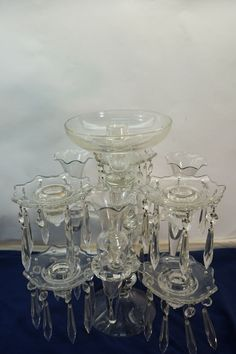 VINTAGE CAMBRIDGE GLASS CAMBRIDGE ARMS CANDELABRA EPERGNE CRYSTAL CANDLE HOLDER #cambridge