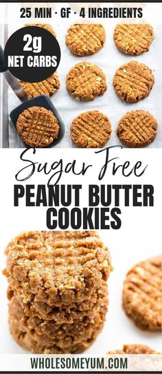 Sugar-Free Low Carb Peanut Butter Cookies Recipe – 4 Ingredients – Want to know how to make homemade peanut butter cookies without flour? You'll love this sugar-free low carb peanut butter cookies recipe. Low Carb Peanut Butter Cookie Recipe, Sugar Free Peanut Butter Cookies, Sugar Free Cookie Recipes, Sugar Free Baking, Sugar Free Desserts, Sugar Cookies Recipe, Diabetic Cookie Recipes, Low Carb Chocolate Chip Cookies, Sugar Free Jello
