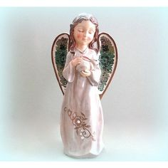 Angel Figurine Angel Statue Christmas Angel Decor Large Angel... ($35) ❤ liked on Polyvore featuring home, home decor, angel figurines, angel statue, christmas sculptures, bunny figurines and christmas angel statues