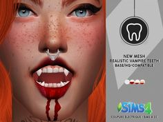 The Sims 4 Realistic Vampire Teeth Sims 4 Body Mods, Sims 4 Game Mods, Sims Four, Sims 4 Mm, Vampires, Sims 4 Stories, Sims 4 Pets, The Sims 4 Skin, Sims 4 Cc Makeup