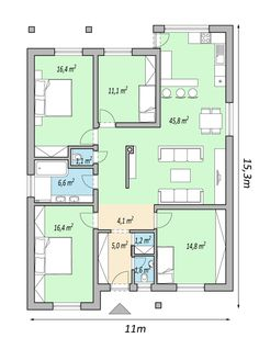Small House Floor Plans, Modern House Plans, Architectural House Plans, Apartment Floor Plans, Home Technology, Facade House, Home Projects, Planer, Woodworking Plans