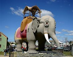 Lucy, the Elephant Building.  A six-story building shaped like elephant, or rather elefoa - Lucy the Elephant Building was built in 1882 by James V. Lafferty in a small town near Atlanta, New Jersey, USA. Over the years, Lucy has housed restaurants, offices, house and tavern.