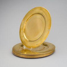Set de 8 marcadores para pratos em bronze de meados do sec.20th, 29,5cm de diametro, 1,170 USD / 1,060 EUROS / 3,670 REAIS / 7,810 CHINESE YUAN