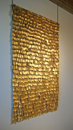 Astonishing abstract tapestry titled 'Alquimia XXV' by internationally known Colombian textile artist Olga De Amaral. Hand crafted from Gold-leaf and gesso applied over woven elements of Linen. Over the past 10 years, major exhibitions of de Textile Fiber Art, Textile Artists, Wall Sculptures, Sculpture Art, Fabric Art, Installation Art, Three Dimensional, Diy Art, Contemporary Art