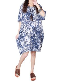 Sale 10% (17.65$) - Chinese Style Vintage Printed Linen Cotton Loose Dress For Women