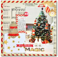 Emma's Paperie: December Color Challenge by Jill Cornell Music paper Christmas And New Year, Christmas Holidays, Christmas Crafts, Christmas Tree, Christmas Scrapbook Pages, Layout Inspiration, Daily Inspiration, Music Paper, Month Colors