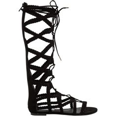 Steve Madden Sammson Gladiator Sandal ($90) ❤ liked on Polyvore featuring shoes, sandals, flats, shoes - sandals, black, black strap sandals, strappy sandals, steve madden sandals, roman sandals and black lace up flats
