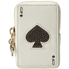 Kate Spade New York Place Your Bets Playing Cards Coin Purse ($78) found on Polyvore featuring bags, wallets, queen of spades, wallets & accessories, polka dot wallet, zip around coin purse, woven bag, kate spade wallet and metallic bag