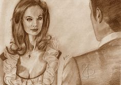 Valerie Leon in 'The Spy Who Loved Me'. Freehand sketch using HB pencil and eraser. Darkened and tinted digitally.