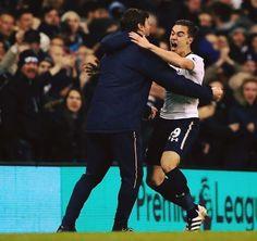 Harry Winks hugs Mauricio Pochettino after scoring his first Premier League goal