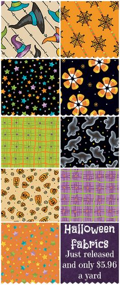 I love these new Halloween fabrics from Connecting Threads. Their site is great… Hobby Supplies, Halloween Fabric, Cat Fabric, Coordinating Fabrics, Gorgeous Fabrics, Fabric Crafts, Yard, Kids Rugs, Quilts