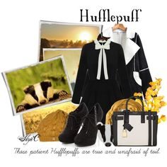 Hufflepuff Badger - Harry Potter by rubytyra on Polyvore featuring Yves Saint Laurent, Krochet Kids, harrypotter and Hufflepuff