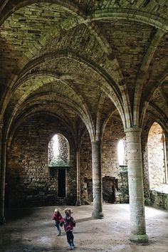 running through the vaulted monk dorms at battle Abbey, Hastings