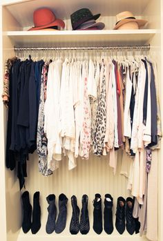 """I like to be very organized, in case you hadn't noticed! I recommend matching clothes hangers; the thin ones allow more space."" http://www.thecoveteur.com/rosie-huntington-whiteley/"