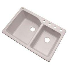 Mont Blanc Grande Dual Mount Composite Granite 34 in. Double Bowl Kitchen Sink in White, Soft White Apron Sink Kitchen, Double Bowl Kitchen Sink, Farmhouse Sink Kitchen, Kitchen Sinks, Bathroom Sinks, Kitchen Reno, Bar Sink, Sink In, Granite Composite Sinks
