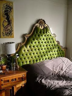 Green headboard, something Holly or Megan will have in their house one day