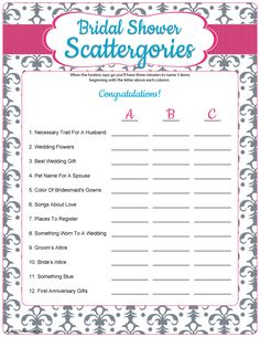 If you've played Scattergories before, you know it's time to get crazy because being original is better than being right! Your goal is to answer questions about the wedding using only words that start with right letter!