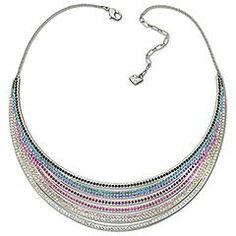 Swarovski necklace, rainbow layers
