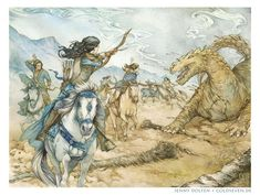 Findekano fighting Glaurung by Jenny Dolfen. Mounted Archery, Elf Art, Photo Work, Jrr Tolkien, The Elf, Middle Earth, Lord Of The Rings, The Hobbit, Giclee Print
