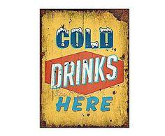 VINTAGE LOFT: Cartel Retro en madera Cold Drinks