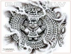 awesome stone god tattoo design