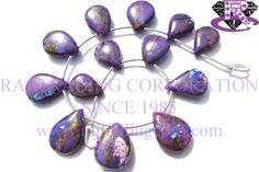 Purple Copper Turquoise Smooth Pear (Quality AAA) Shape: Pear Smooth Length: 18 cm Weight Approx: 16 to 18 Grms. Size Approx: 10x13.5 to 12.5x17 mm Price $40.80 Each Strand