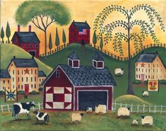 Primitive Red Quilt Barn Sheep Cows Print 11x14