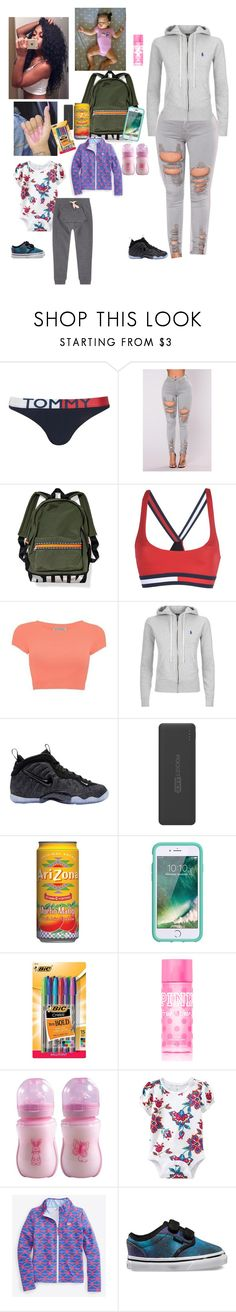 """Taking My Daughter To DayCare Before School"" by kristinabone ❤ liked on Polyvore featuring Topshop, Tommy Hilfiger, Polo Ralph Lauren, NIKE, Tzumi, Griffin, BIC, Victoria's Secret PINK, Old Navy and Vans"