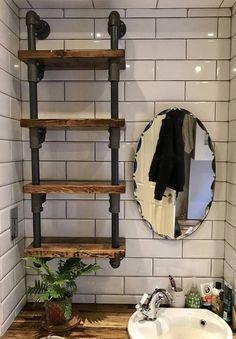 30 simple and cheap diy wooden shelf design ideas 1 Wooden Shelf Design, Diy Wooden Shelves, Reclaimed Wood Shelves, Wooden Diy, Wall Shelves, Reclaimed Timber, Pipe Furniture, Industrial Furniture, Urban Furniture
