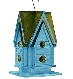 Handcrafted Birdhouse with coastal appeal for indoor decor or garden. Single compartment with 8 entries (does not offer a clean-out, though nests may easily be removed with a pliers or similar). Non-t