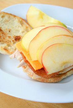 English muffin,Dijon Mustard,Turkey, apple, Cheddar cheese! YUM great way to use up thanksgiving turkey!
