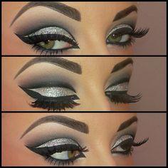 Arabic Glitter Eyes Makeup look