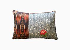 EMBROIDERED TANABATA NIGHT SKY    The Tanabata Night Sky pillow in Indigo with Guatemalan fabric and hand embroidered geranium
