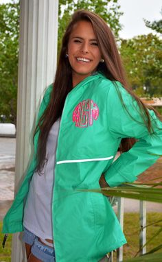 A personal favorite from my Etsy shop https://www.etsy.com/listing/478609173/monogrammed-mint-rain-jacket-with-lilly