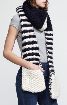 """Scarf with pockets. These could be a hot hit, too! I'd make the """"outside pocket"""" part the same stripe pattern though, instead of that solid color. I'd definitely love a striped one like this ;)"""