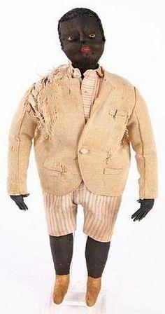 Antique American folk art southern gentleman doll.