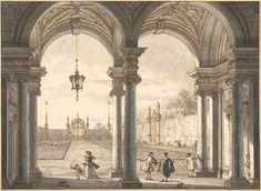 View through a Baroque Colonnade into a Garden, 1760-1768. Canaletto.