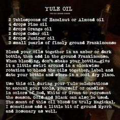 Yule Oil Blend – Sabbats: Yule/Winter Solstice – Home Recipe Wiccan Sabbats, Paganism, Samhain Recipes, Wicca Recipes, Yule Traditions, Yule Celebration, Pagan Yule, Cedar Oil, Green Witchcraft