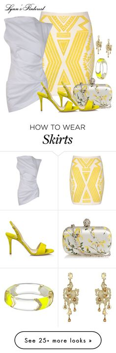 """Yellow Aztec Print Skirt -  #3851"" by lynnspinterest on Polyvore featuring Jane Norman, Alexander McQueen, Jimmy Choo, Vivienne Westwood Anglomania, Oscar de la Renta and Alexis Bittar"