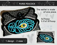 Peacock Purse/wallet/bag  in-the-hoop  No.367  Video